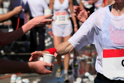 drinking water while running