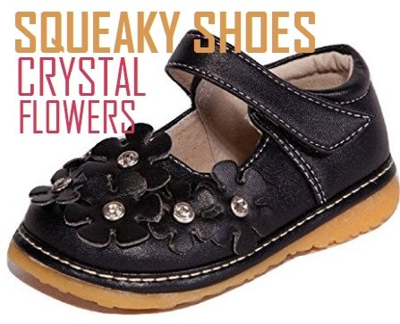 Black with Crystal Flowers Mary Jane Toddler Girl Squeaky Shoes
